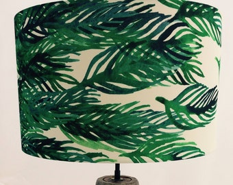Hand made rolled-edge 'Drifting Leaves' fabric lampshade