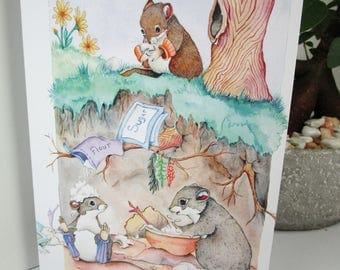 Mice greeting cards 5x7 watercolor print cards mice everyday or birthday card 5 card pack