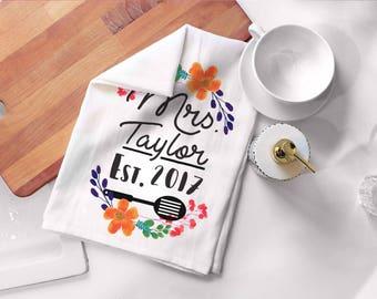 Future Mrs Tea Towel Flour Sack -Mrs EstGift - New Home Gifts -Floral Kitchen Decor -Tea Towel Bridal Shower Gift Ideas - Personalized Bride