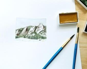 Colorado State Shape Watercolor Landscape Painting [8x10 Art Print] Modern Wall Decor