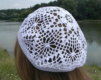 Summer beanie Summer hat for women Crochet hat cotton Beach hat mother's day gift Wedding Beret white Vintage style French Laced hat
