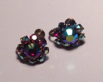 Anniversary Sale Vintage Aurora Borealis Clip Earrings