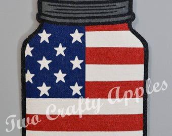 Patriotic Mason Jar Burlap Door Hanger