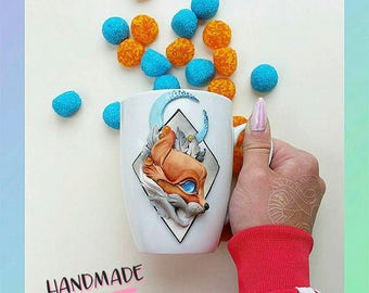 Red fox with the moon on mug 400 milliliters volume