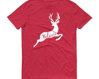 Christmas Deer, Believe T-Shirt, Reindeer