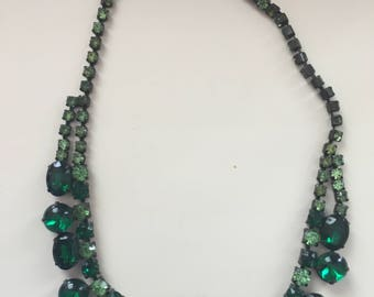 Vintage Green Rhinestone and Emerald Necklace