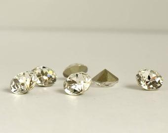 8mm Crystal Clear Chaton, Swarovski Crystal Rhinestones, Xirius Round, SS39 Embellishment, Foil Back, Loose Rhinestones, For Sewing, 1088