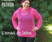 Patron de crochet San's Sunny Sweater - pullover, chandail, gilet, capuchon, veste, top, ajouré - fichier pdf, téléchargement numérique