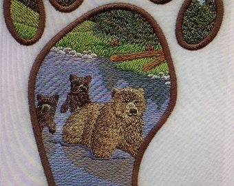 """Embroidered """"Grizzly Bear Track"""" Shirt"""