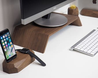 Walnut Monitor Stand - iMac Wood Stand - Computer Wood Stand - Display stand