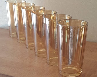 6 Vintage Glass Tumblers~Vintage Amber Glassware~Luster Ware~ Peach  Marigold Glasses~