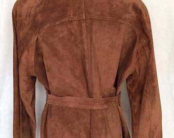 Suede Jacket,Belted,3 buttoned,Dark Copper Color,Medium