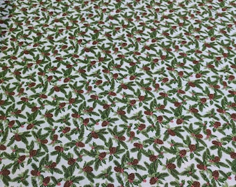 Natures Gift-Pinecones and Holly Cotton Fabric from Moda