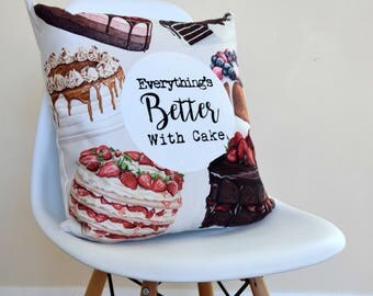 Cake Quote Decorative Cushion, Cake Cushion, Home & Living, New Home Gift, Best Friend Gift, Friend Gift, Gift For Her, Home Decor