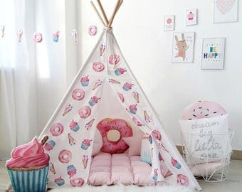 Kids Teepee with Donuts, Cupcakes and Ice Creams, Tipi with poles, playtent, girls wigwam, pink teepee for girl, teepee tent, girls teepee