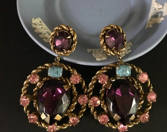 Vintage Large Rhinestone Clip Statement Earrings