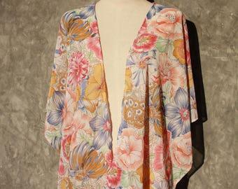 Floral chiffon shawl jacket