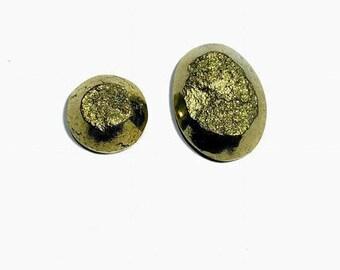 high quality pyrite druzy cabochon  11.3 gm 2 pcs  GM 627