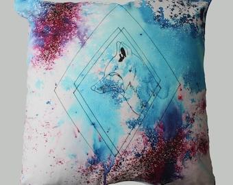 Cushion Cover Watercolour Fox Cushion Blue and Purple Pink