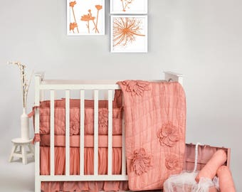 Rouched Fleur Luxury Collection Baby Bedding Set   Baby Girl   Floral Coral 3D Hand Made Crib Nursery Bedding- Free Personalization