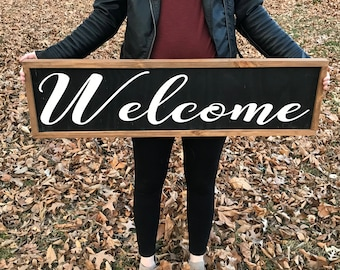 Welcome// Welcome sign// front porch// entry way// rustic// black// framed
