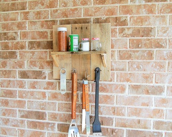 BBQ Tool Holder - garage, patio, back porch, mancave, barbecue, spice rack, kitchen, reclaimed, upcycled, recycled, storage, grill