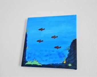 deep sea canvas painting, canvas art, deep blue sea painting, ocean artwork, acrylic painting, acrylic painting, canvas painting, 3D art