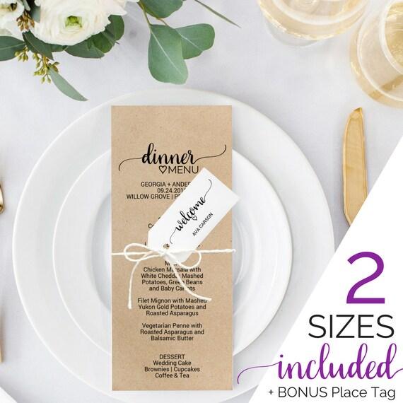 printable wedding menu template rustic wedding dinner menu cards