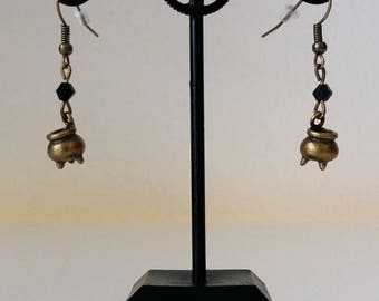 Halloween witchpot earrings bronze with/without stone