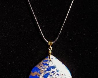 Lapis Lazuli Pyrite Pendant Cord Necklace