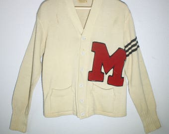 Vintage 50's / 60's Wool Off White / Creme with Red Letter Varsity Cardigan / Sweater