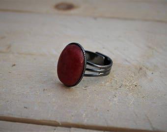 Statement Ring ; Red Mountain Jade ; Gunmetal plated brass ; Adjustable Ring