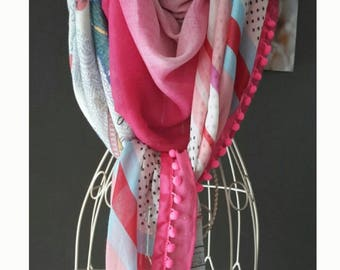 "Colorful scarf, pompom,""style shanna""pink and multicolor. Pink Echarpe.Etole.Cadeau.Grand pompom.foulard printed striped and polka dot scarf."