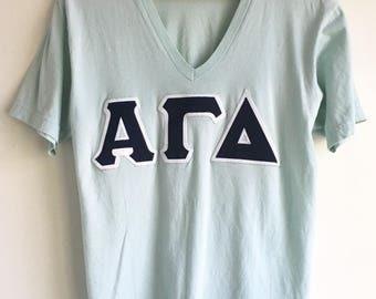 Light Blue American Apparel V-neck University Sorority tee t-shirt