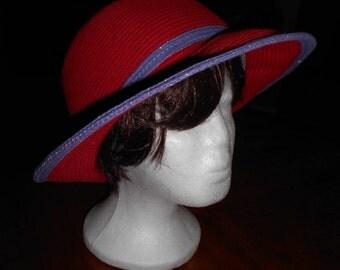 Vintage  Hat Red  Blue Ribbon Red Summer Hat