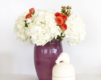 Handmade Ceramic Purple and Sea Green Scalloped Flower Vase