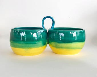 Handmade Double Serving Bowl with Handle