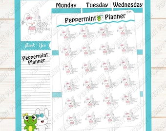 I'm mentally throat punching you --- Rabbit Stickers --- planner stickers --- 311