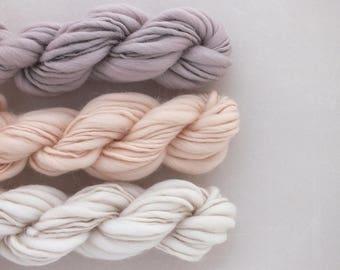 Yarn pack for weaving, knitting - hand spun Merino, thick and thin, pink purple, wall hanging
