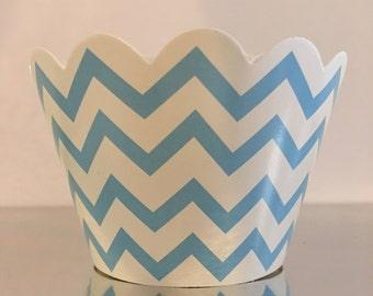 Beautiful Blue Cupcake Wrapper - Chevron Pattern.