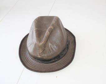 Vintage Genuine Leather Leather Hat Cowboy Indiana Jones Fedora Boho Bohemian Festival Brown Leather Hat Australian Outback-style bush hat