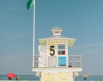 Beach Photography, Large Wall Art, Yellow Lifeguard Stand, Beach Wall Art, Fine Art Photography - On Guard