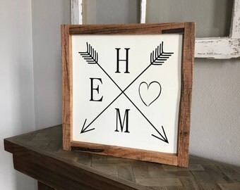 Home with Heart and Arrows, Rustic, Wood Sign, Pallet Frame