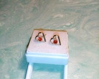 Sapphire Songea Heart Earrings, Natural Songea Orangish Red Sapphire 3mm Diamond Cut Studs
