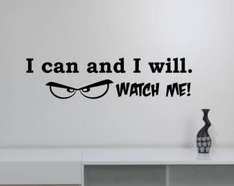 I Can And I Will Sticker Vinyl Lettering Self Motivated Motivational Quote Decal Inspirational Sayings Wall Art Sports Room Office Decor hq9