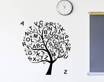 Alphabet Tree Wall Decal Education Vinyl Lettering Study Sticker Learn Signs Art Decorations for School Kids Playroom Classroom Decor ed3