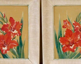 Two mid-century gouache paintings of gladiolus in original frames