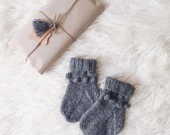 Baby knitted socks Newborn wool socks Baby shower gift Grey boys girls baby socks Children toddler knitted socks Winter kids socks baby gift