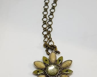 Brass Necklace with Vintage Flower Pendant