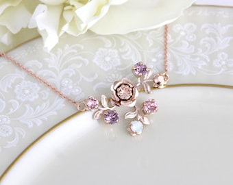 Bridal jewelry, Opal necklace, Rose gold necklace, Bridal necklace, Rose gold flower necklace, Swarovski necklace, Blush crystal necklace
